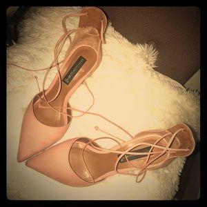 Soft pink tie up heels